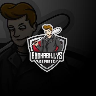 Logotipo do mascote rockabilly esport