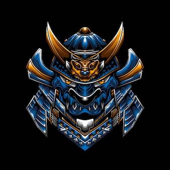 Logotipo do mascote samurai dragon esport