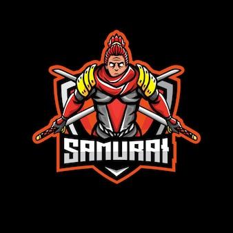 Logotipo do mascote samurai esport