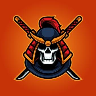 Logotipo do mascote skull ninja e sport