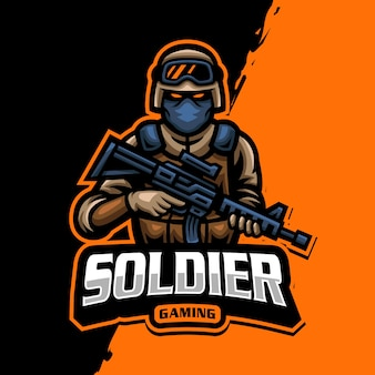 Logotipo do mascote soldado esport gaming