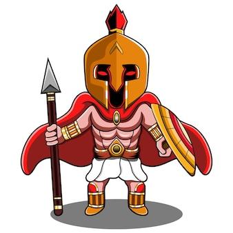 Logotipo do mascote spartan chibi
