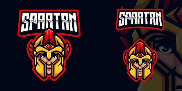 Logotipo do mascote spartan head gaming para esports streamer e comunidade