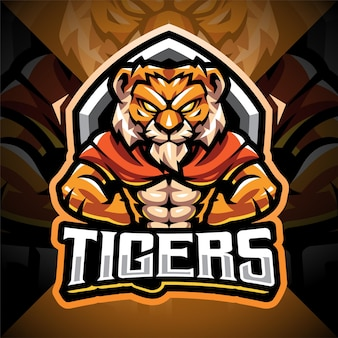 Logotipo do mascote tiger man esport