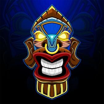 Logotipo do mascote tiki mask esport