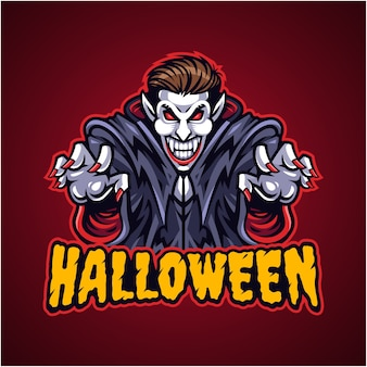 Logotipo do mascote vampiro do halloween