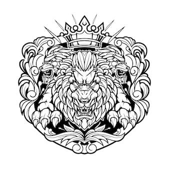 Logotipo do mascote vintage do rei leão
