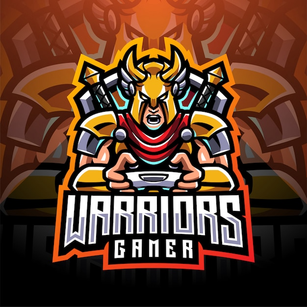 Logotipo do mascote warrior gamer esport