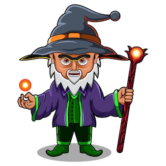Logotipo do mascote wizard chibi
