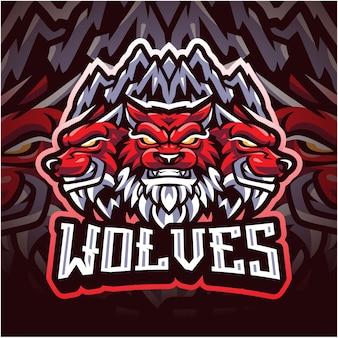 Logotipo do mascote wolf esport