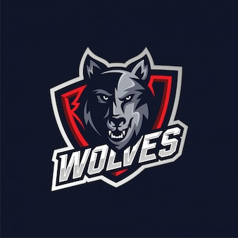Logotipo do mascote wolf head esport