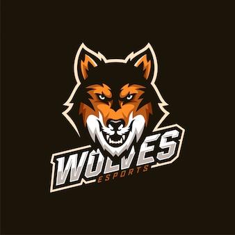 Logotipo do mascote wolf head esport