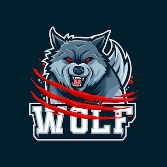 Logotipo do mascote wolf para esport e esportes