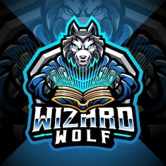 Logotipo do mascote wolf wizard esport