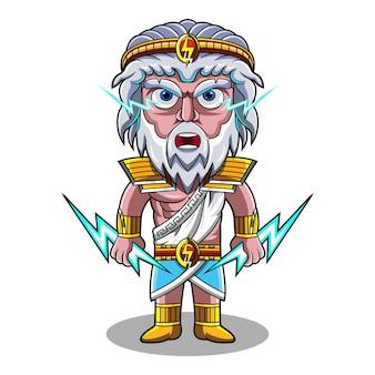 Logotipo do mascote zeus chibi