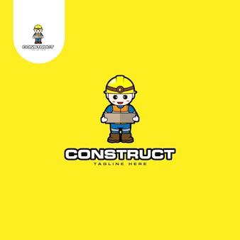 Logotipo do mascout da construção
