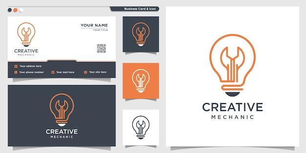 Logotipo do mecânico com estilo de arte de linha gradiente criativo e modelo de design de cartão de visita