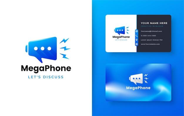 Logotipo do megafone de bate-papo com design de cartão de visita gradiente