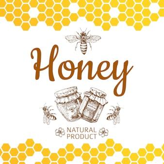 Logotipo do mel vintage e fundo com abelha, potes de mel e favos de mel