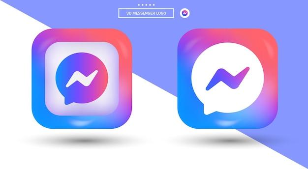 Logotipo do messenger em estilo moderno para ícones de mídia social gradiente quadrado