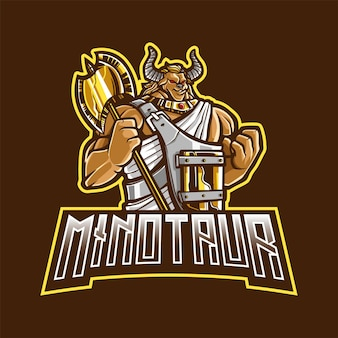 Logotipo do minotaur mascot para esportes e esportes