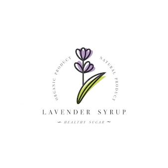 Logotipo do modelo de design de embalagem e emblema - xarope e cobertura - ramo de lavanda. logotipo em estilo linear moderno.