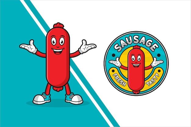 Logotipo do modelo de design de mascote de linguiça