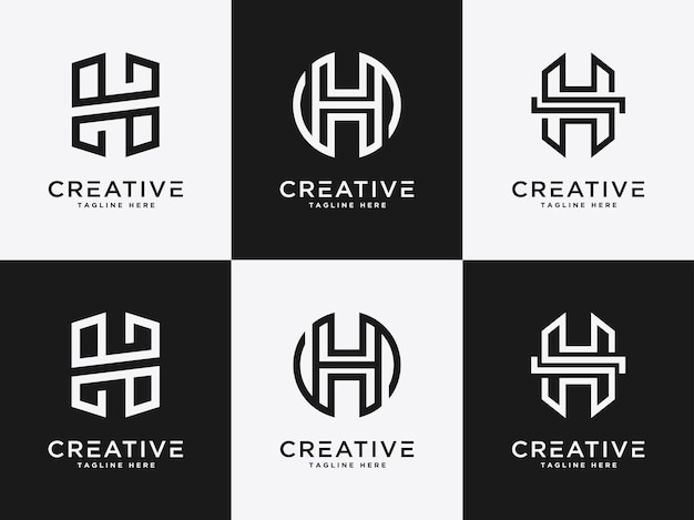 Logotipo do modelo definir a letra h ícone inicial monograma