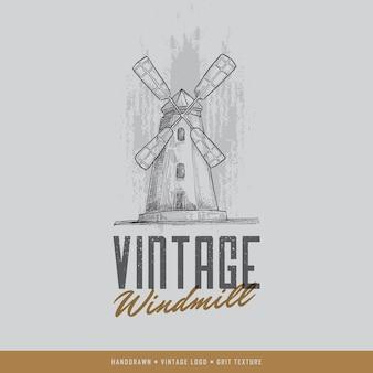 Logotipo do moinho de mão desenhado ao ar livre do vintage