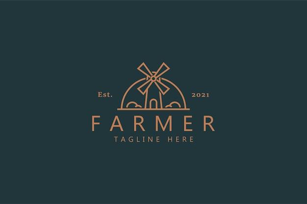 Logotipo do moinho de vento do fazendeiro isolado em verde suave