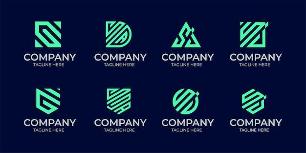 Logotipo do monograma com iniciais s&a em estilo linear