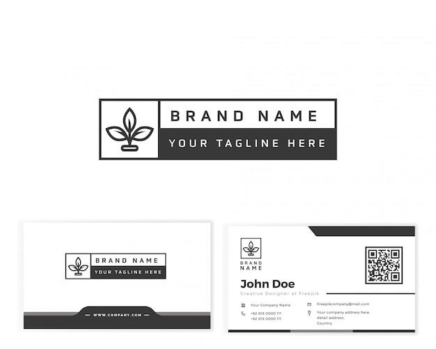 Logotipo do monograma da flor com artigos de papelaria cartão de visita