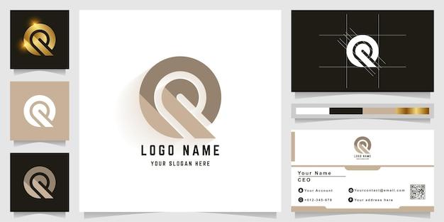 Logotipo do monograma da letra q ou e com design de cartão de visita