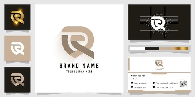 Logotipo do monograma da letra q ou r com design de cartão de visita