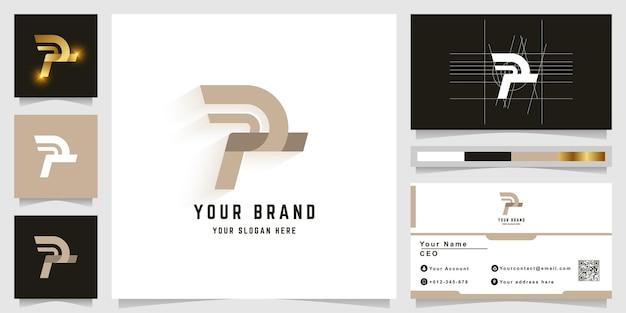 Logotipo do monograma da letra r ou p com design de cartão de visita