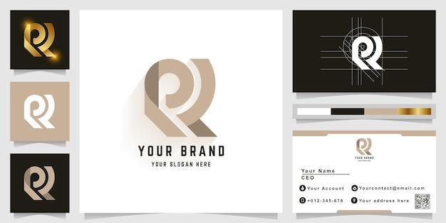 Logotipo do monograma da letra r ou rl com design de cartão de visita