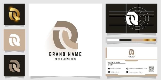 Logotipo do monograma da letra r ou rq com design de cartão de visita