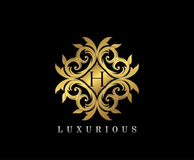 Logotipo do monograma elegante e dourado com a letra h.