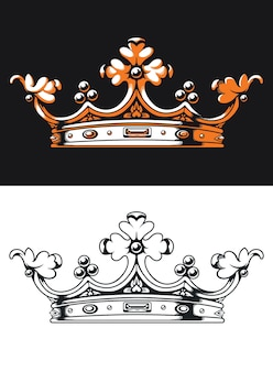 Logotipo do monograma retrô da silhueta heráldica da coroa em estilo preto e branco