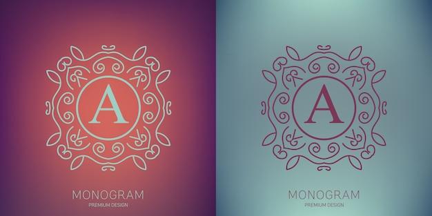 Logotipo do monograma vintage de vetor