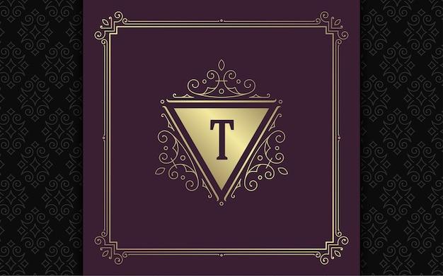 Logotipo do monograma vintage elegante floreios linha arte ornamentos graciosos estilo vitoriano modelo de design