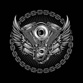 Logotipo do motociclista com ilustração de asas