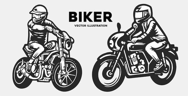 Logotipo do motociclista com pose completa, motocicleta vintage, vetor de ilustração plana
