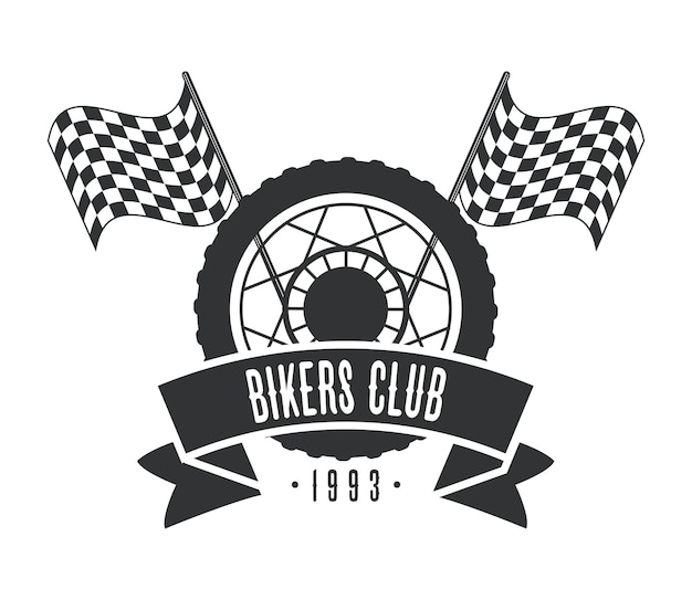 Logotipo do motociclista de rodas