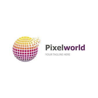 Logotipo do mundo de pixel