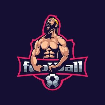 Logotipo do músculo barba com futebol