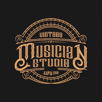 Logotipo do músico vintage
