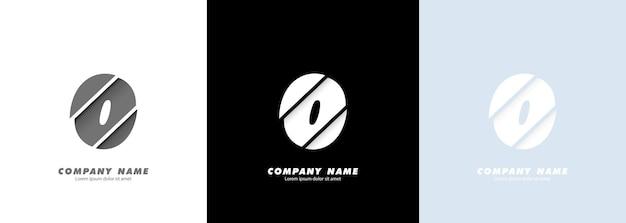 Logotipo do número 0 da arte abstrata. design quebrado.