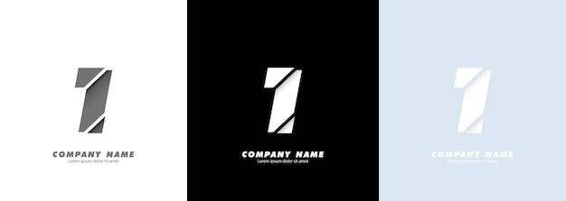 Logotipo do número 1 da arte abstrata. design quebrado.