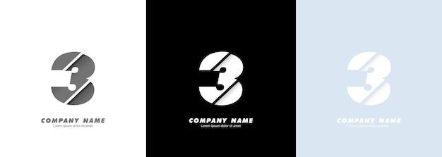 Logotipo do número 3 da arte abstrata. design quebrado.